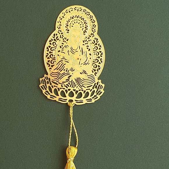 Bookmark - Brass metal cutting Buddha